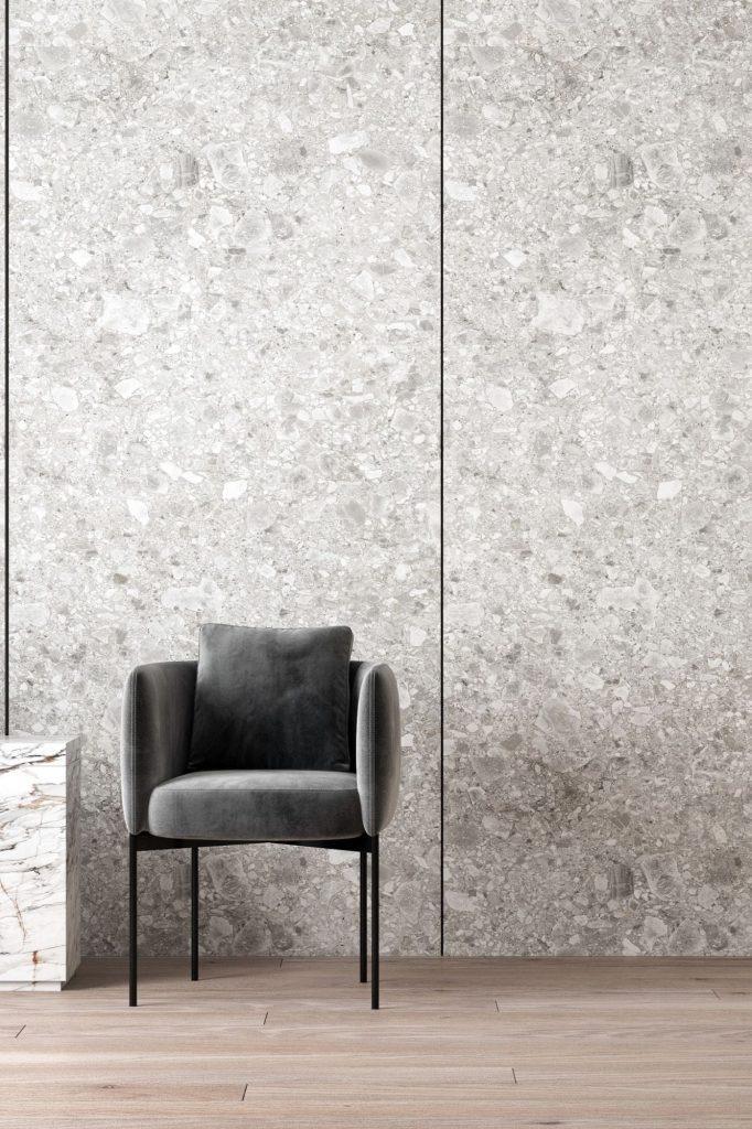 Grey chair in a modern, grey location