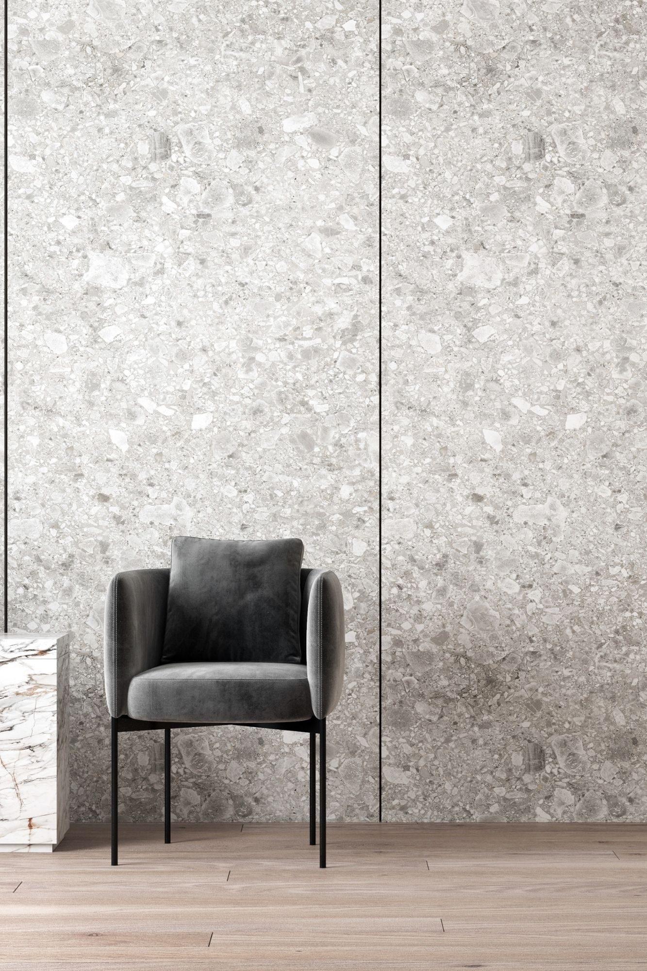 Grey chair in a modern, grey room